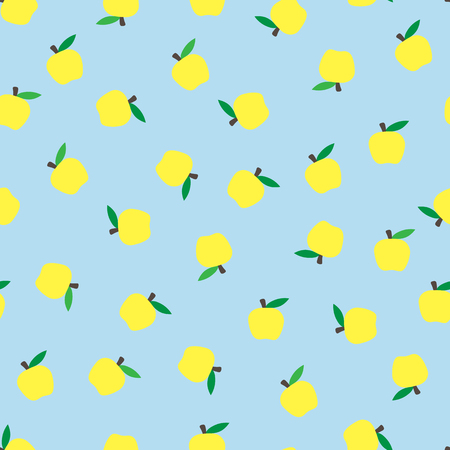 seamless blue background with yellow apples. Autumnal seasonal background. school. pattern for design