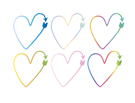 colorful set of vector hearts in the form of arrows. pointer, symbol. gradient drawings