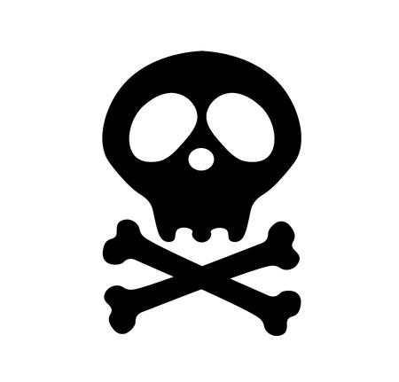 Pirate flag. death skull. Crossbones. Danger or poison flat icon for apps and websites. Skeleton body part. Happy Halloween sign symbol.