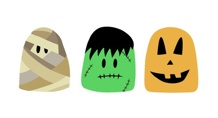 cartoon characters for Halloween. Halloween characters, Vector illustration mummy, frankenstein, pumpkin