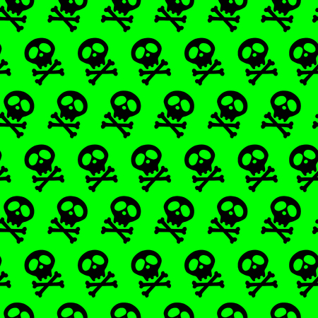 acid Seamless bright green background. poison. black Skull and bones crossed. Vector illustration. radiation