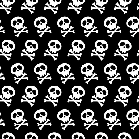 halloween design and decoration. white Skull and bones crossed. Vector illustration. Seamless black background. poison. goths.