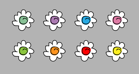 set of simple color vector chamomiles. childs drawing. little cute flowers for design.