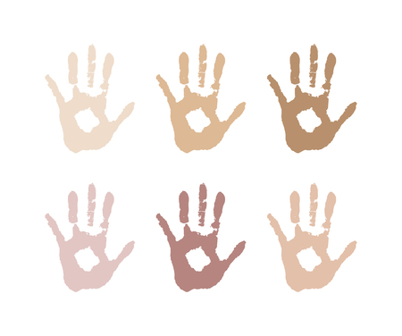 vectorial image of the palm of the skin color. Racism, race. different skin colors, tolerance.