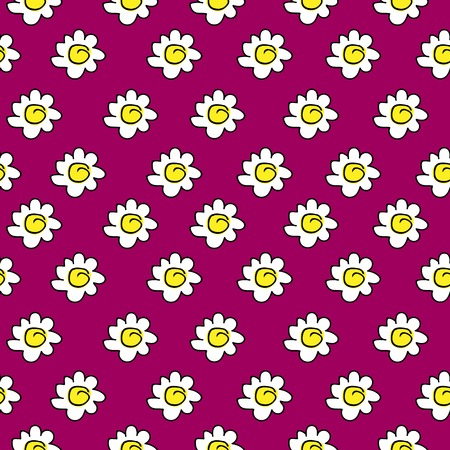 floral crimson seamless chamomile drawing. vector illustration. White daisies pattern on a bright background.