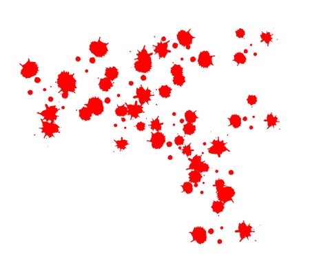 drops of blood. vector. red blood splashes, drops and trail Isolated on white background