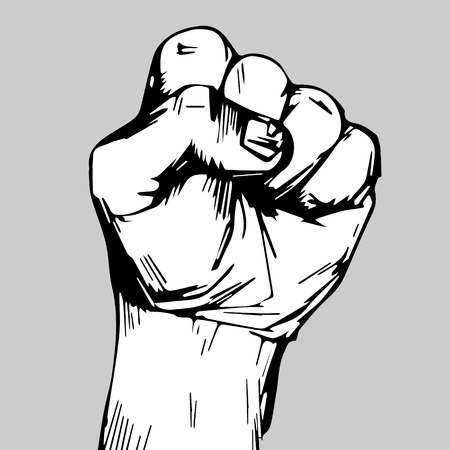freehand drawing. clenched fist held high in protest. clenched fist held in protest vector illustration.