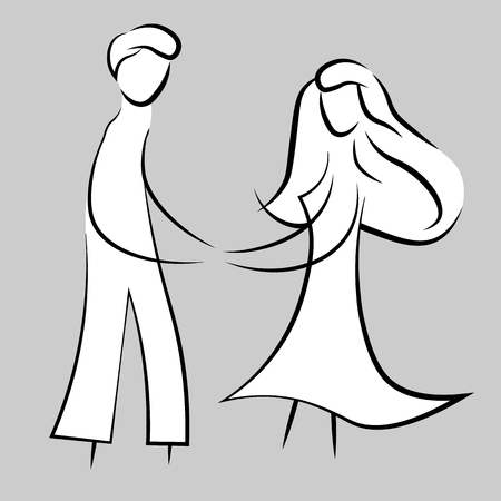 black line woman and men. Beauty, fashion concept logo. Silhouette of love vector illustration. Fashion girl. Vettoriali
