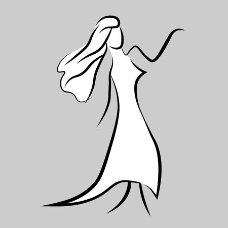 black line woman. Beauty, fashion concept logo. Silhouette of beautiful woman vector illustration. Fashion girl.