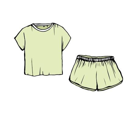 Women s fashion Sleepwear. drawing Pajamas.green shorts and t-shirt. Vector sleepwear isolated illustration.
