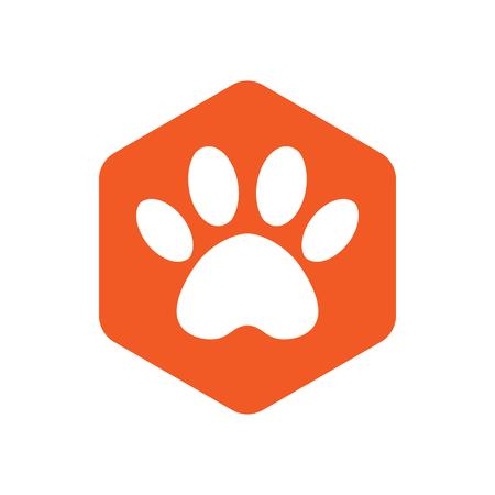 animal footprint hexagonal. orange vector hexagon shape icon with the animals. Cat paw icons isolated.