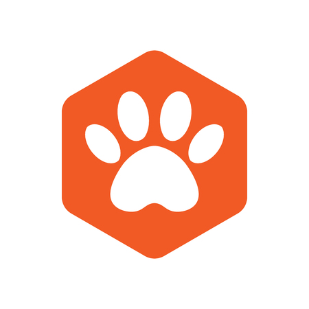 animal footprint hexagonal. orange vector hexagon shape icon with the animals. Cat paw icons isolated.