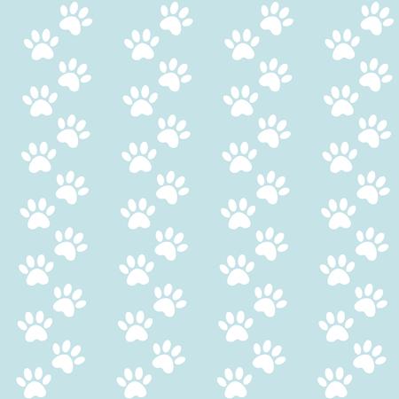 blauer Hintergrund für Verpackungsdesign. Spuren von Katzentextilmuster. Nahtloses Muster des nahtlosen Pfotenabdrucks des Vektors.