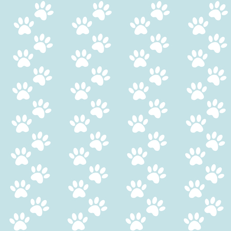 blue background for packing design. Traces of cat textile pattern. Vector seamless paw print seamless pattern.