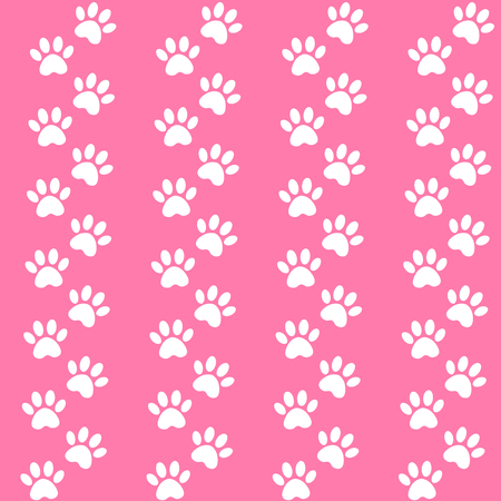 pink background for packing design. Traces of cat textile pattern. Vector seamless paw print seamless pattern.