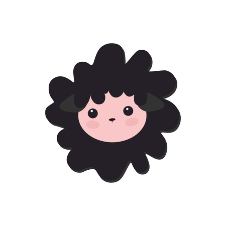 little black sheep, baby picture. Cute Vector Lamb Illustration. 矢量图像