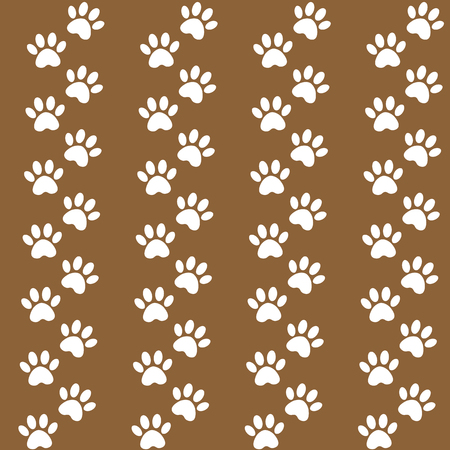 brown background for packing design. Traces of cat textile pattern. Vector seamless paw print seamless pattern.