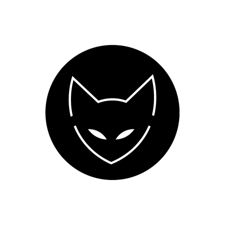 cat logo, icon. cat ninja illustration vector. a cat with a bandage. martial arts. Japan Sun.