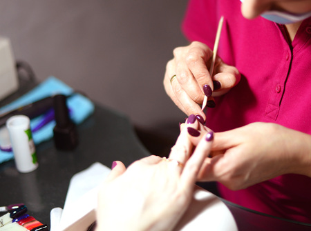 Coating gel varnish photography close-up.manicure in the salon.