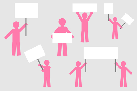 silhouette of simple isolated people with posters. strike protest of people with posters. Ilustração