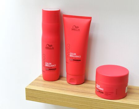 hairstyle care, styling and coloring. Wella Professionals germany hair dye products.