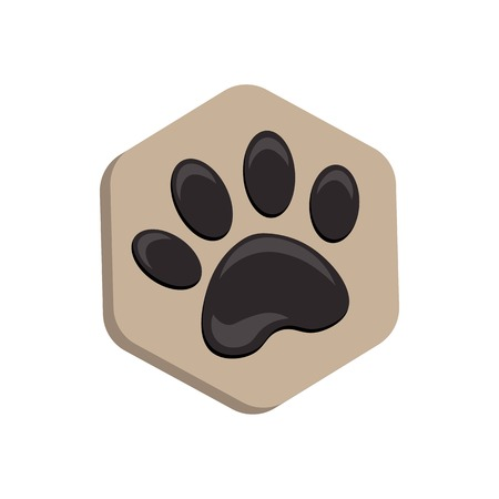 animal footprint hexagonal. beige vector hexagon shape icon with the animals. Cat paw icons isolated.