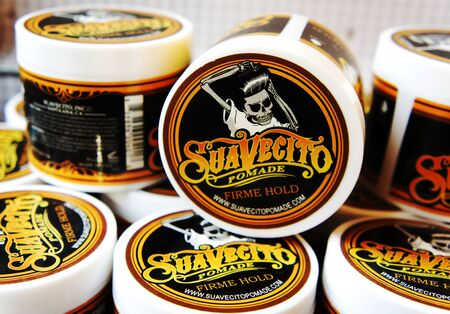 trendy barbershop styling. gel for male styling - SuaVecito. SuaVecito pomade strong firme hold.