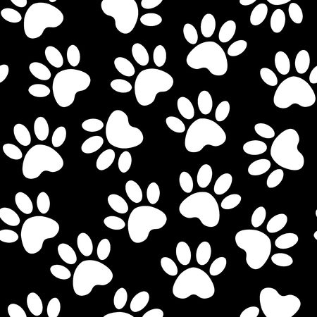 backdrop with silhouettes of cat or dog footprint. Vector illustration animal paw track pattern. Paw black print seamless. Standard-Bild - 120809830