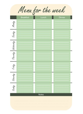 meal plan for the week vector. green menu options for the week. template for food diary.