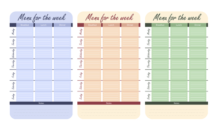 meal plan for the week vector. 3 color menu options for the week. template for food diary.