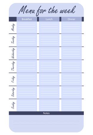 주 벡터에 대한 식사 계획입니다. 일주일 동안의 파란색 메뉴 옵션. 음식 일기 템플릿입니다.