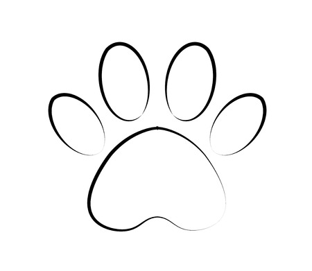 Vector paw print icon. contour paw of an animal, canine footprints. Trace of the cat.