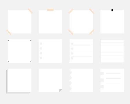 white sheets of notebook for decoration. set of paper vector stickers. Vektoros illusztráció