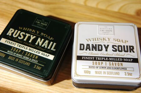 dandy sour and rusty nail. Whisky Cocktail Soaps in a Tin. Scottish Fine Soaps.