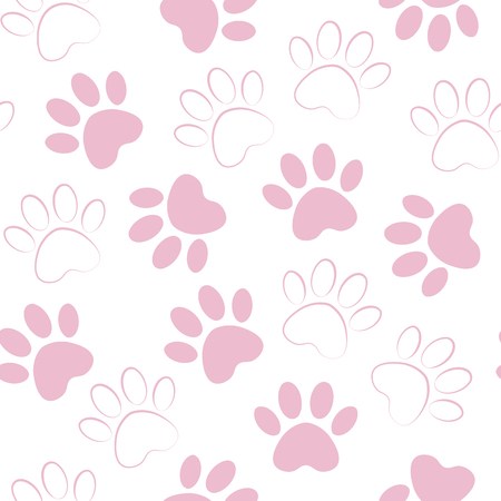 backdrop with silhouettes of cat or dog footprint. Vector illustration animal paw track pattern. Paw print seamless.