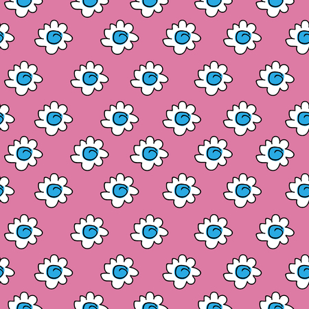 White daisies seamless pattern on a pink background. floral blue seamless chamomile drawing. vector illustration.