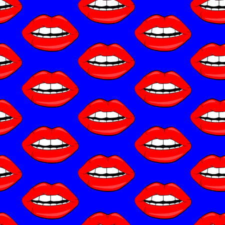 Sexy vector lip background. cartoon style. Cosmetics and makeup lips seamless pattern. beautiful lips of woman with red lipstick and gloss.