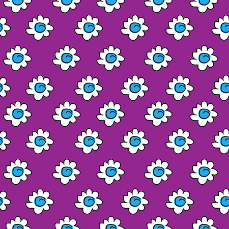 White daisies seamless pattern on a purple background. floral blue seamless chamomile drawing. vector illustration.