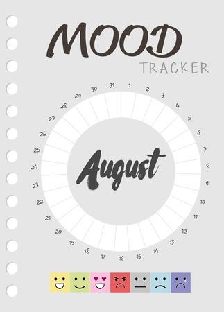 Diario de estado de ánimo durante un mes. calendario de seguimiento del estado de ánimo. realizar un seguimiento del estado emocional Ilustración de vector