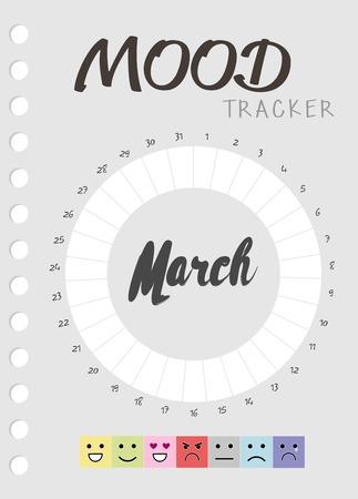 Mood diary for a month. mood tracker calendar. keeping track of emotional state Vektorgrafik
