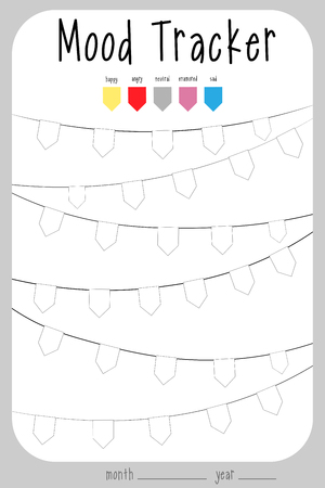 keeping track of emotional flag state. Mood diary for a month. mood tracker calendar.