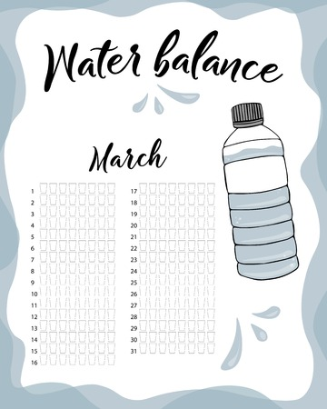Water consumption per week and month March. Water balance vector calendar. Water monthly tracker.
