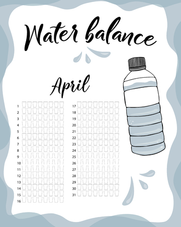 Water consumption per week and month April. Water balance vector calendar. Water monthly tracker.