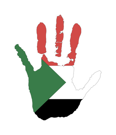 red, white, black, green color of the flag. vector handprint in the form of the flag of Sudan.