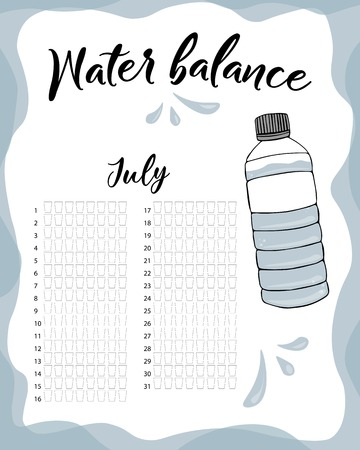 Water consumption per week and month July. Water balance vector calendar. Water monthly tracker.  イラスト・ベクター素材