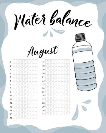 Consumo de agua por semana y mes de agosto. Calendario de vector de balance de agua. Rastreador mensual de agua. Ilustración de vector