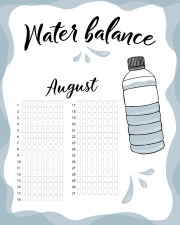 Water consumption per week and month August. Water balance vector calendar. Water monthly tracker.  イラスト・ベクター素材