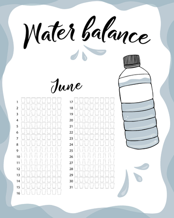 Water consumption per week and month June. Water balance vector calendar. Water monthly tracker.