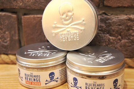 Barber shop face cosmetic. the bluebeards revenge scrub face for men.