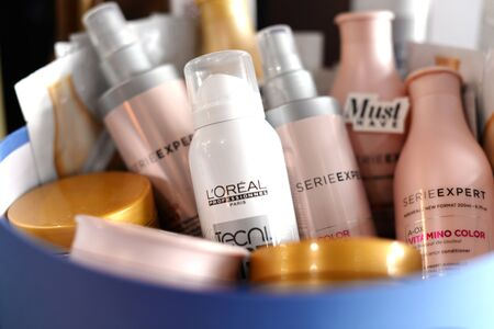 French luxury cosmetics for body, hair and face care. professional loreal serie expert.